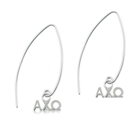 Sterling Silver Alpha Chi Omega Long Earrings