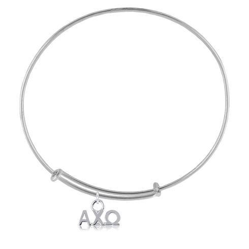 Sterling Silver Alpha Chi Omega Adjustable Charm Bracelet