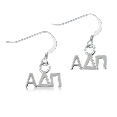 Sterling Silver Alpha Delta Pi Dangle Earrings