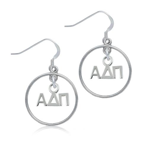 Sterling Silver Alpha Delta Pi Open Drop Earrings