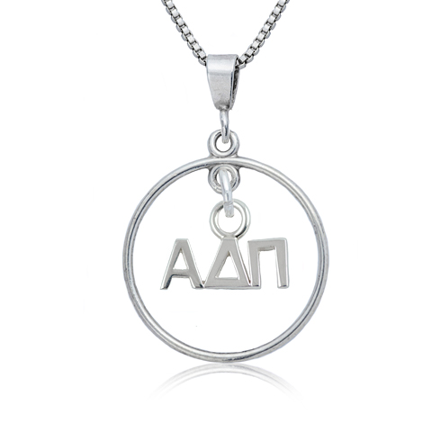 Sterling Silver 16in Alpha Delta Pi Open Drop Necklace