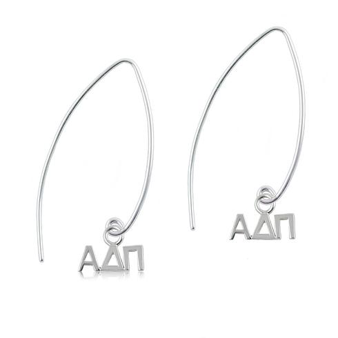 Sterling Silver Alpha Delta Pi Long Earrings