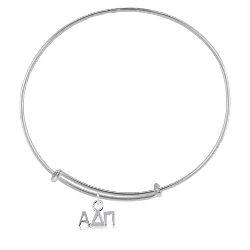 Sterling Silver Alpha Delta Pi Adjustable Charm Bracelet