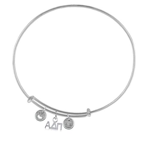 Sterling Silver Alpha Delta Pi Adjustable Bracelet with Charms