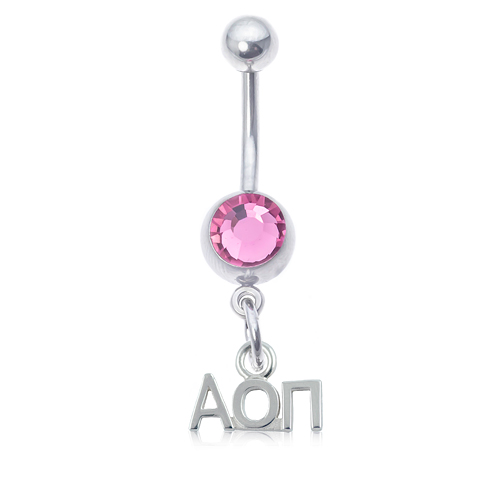 Alpha Omicron Pi Pink Belly Button Ring