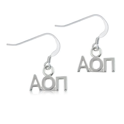 Sterling Silver Alpha Omicron Pi Dangle Earrings