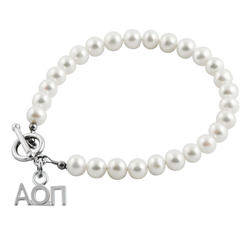 Sterling Silver Alpha Omicron Pi Pearl Bracelet