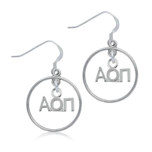 Sterling Silver Alpha Omicron Pi Open Drop Earrings