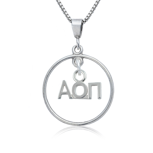 Sterling Silver 16in Alpha Omicron Pi Open Drop Necklace