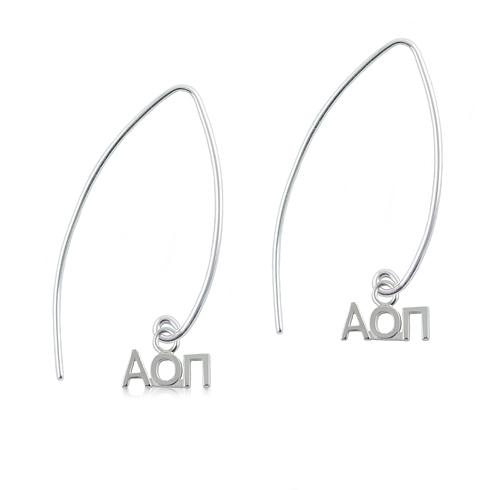 Sterling Silver Alpha Omicron Pi Long Earrings