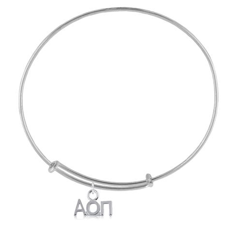 Sterling Silver Alpha Omicron Pi Adjustable Charm Bracelet