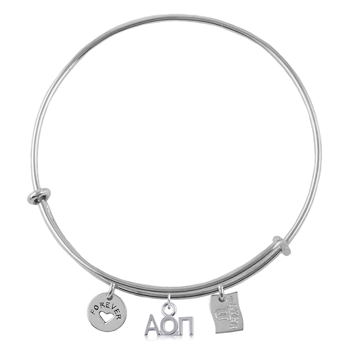 Sterling Silver Alpha Omicron Pi Adjustable Bracelet with Charms