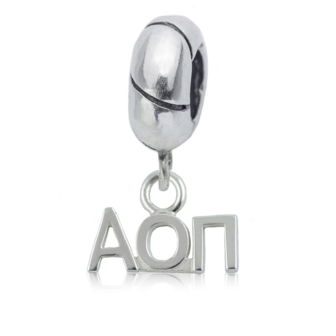 Sterling Silver Alpha Omicron Pi Charm Bead