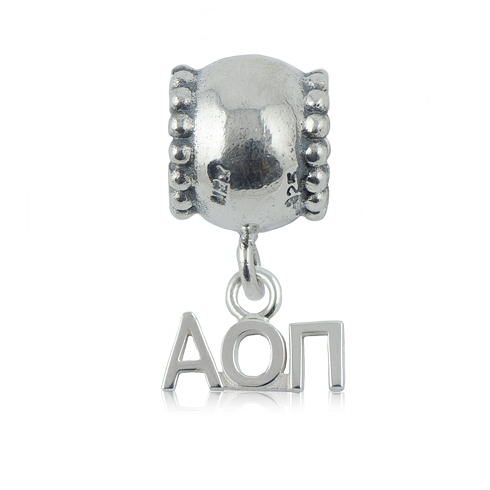 Sterling Silver Alpha Omicron Pi Daisy Charm Bead