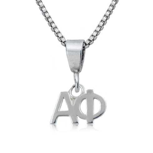 Sterling Silver 16in Alpha Phi Charm Necklace