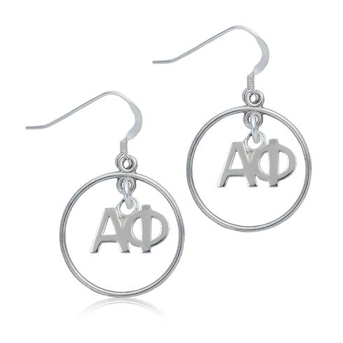 Sterling Silver Alpha Phi Open Drop Earrings