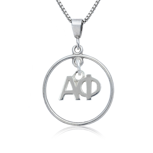 Sterling Silver 16in Alpha Phi Open Drop Necklace