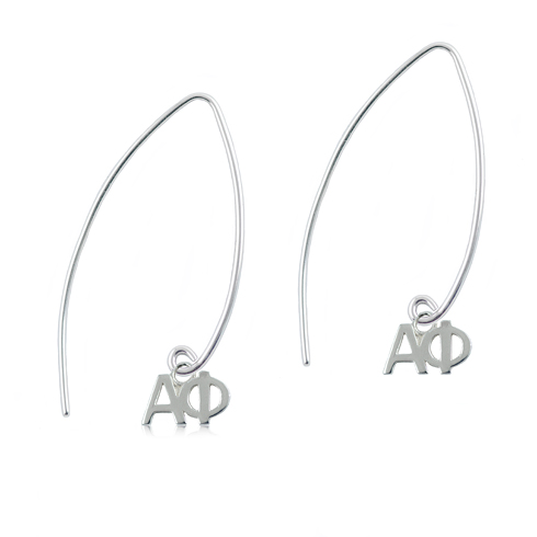 Sterling Silver Alpha Phi Long Earrings
