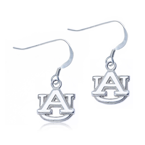 Sterling Silver Auburn University Dangle Earrings