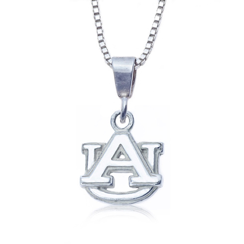 Sterling Silver 16in Charm Auburn University Necklace