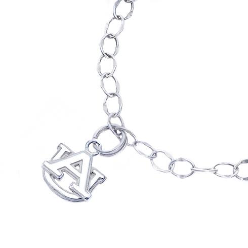 Sterling Silver Charm Auburn University Bracelet