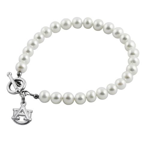 Sterling Silver Auburn University White Pearl Bracelet