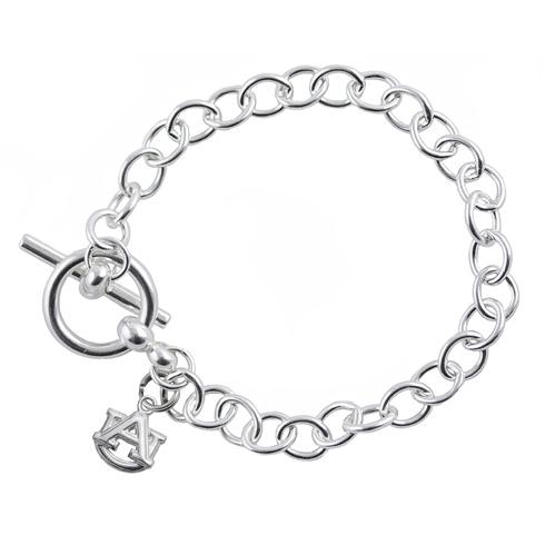 Sterling Silver 7 1/2in Auburn University Link Bracelet