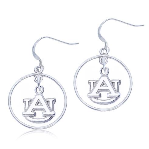 Sterling Silver Open Drop Auburn University Earrings