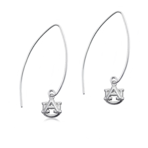 Sterling Silver Auburn University Long Fishhook Earrings