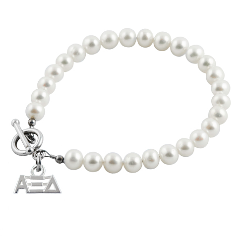Sterling Silver Alpha Xi Delta Pearl Bracelet