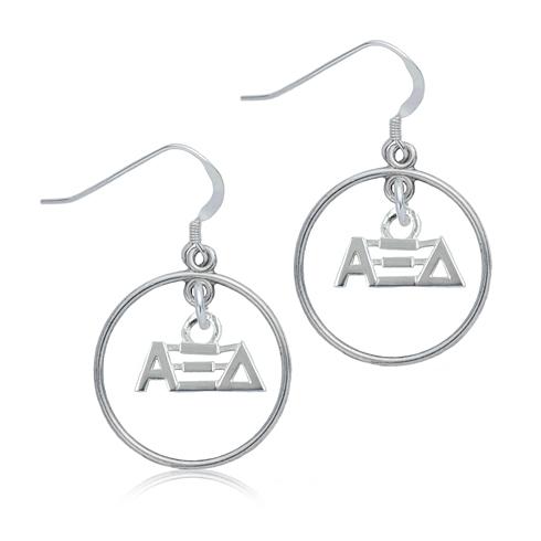 Sterling Silver Alpha Xi Delta Open Drop Earrings