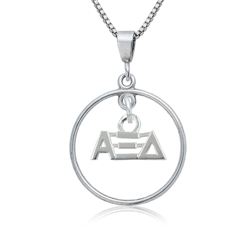 Sterling Silver 16in Alpha Xi Delta Open Drop Necklace