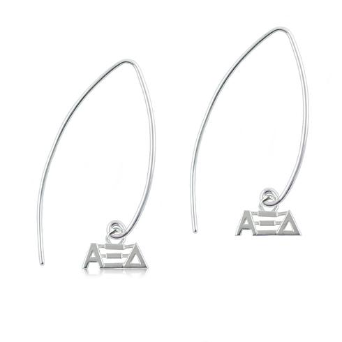 Sterling Silver Alpha Xi Delta Long Earrings