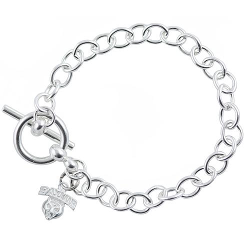 Sterling Silver 7 1/2in Baylor University Link Bracelet