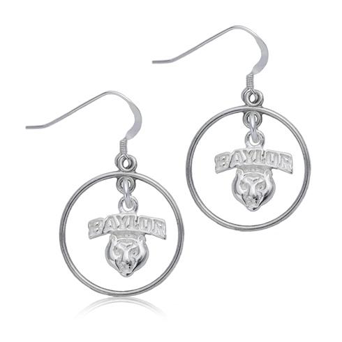 Sterling Silver Baylor University Open Drop Earrings