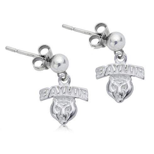 Sterling Silver Baylor University Post Dangle Earrings