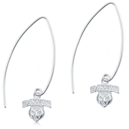 Sterling Silver Baylor University Long Fishhook Earrings