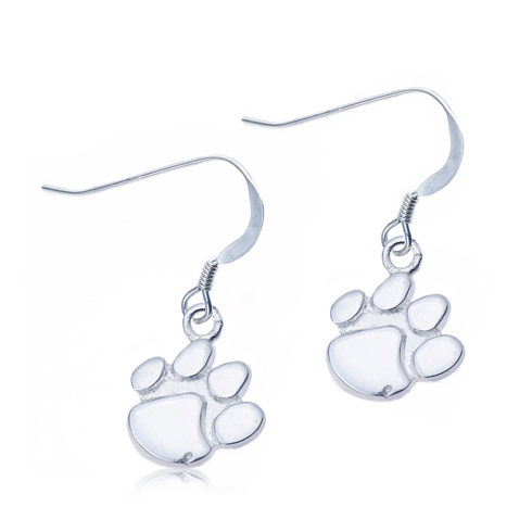 Sterling Silver Clemson University Paw Dangle Earrings