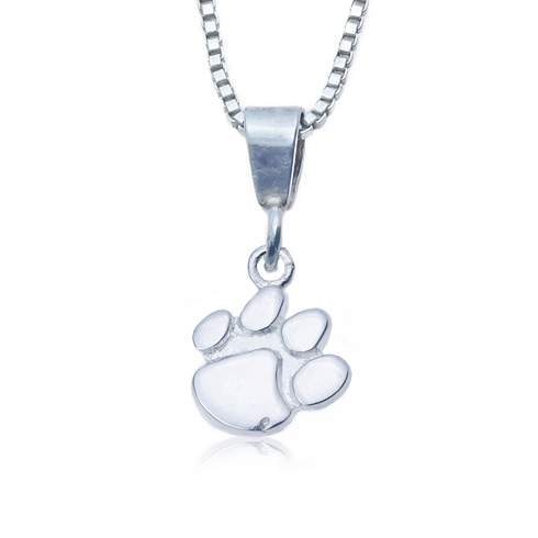 Sterling Silver 16in Charm Clemson Necklace