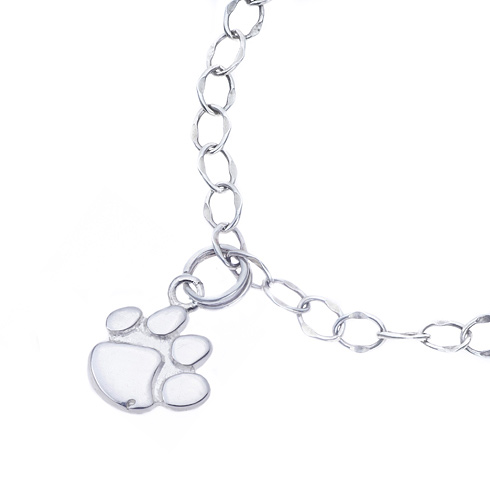 Sterling Silver Charm Clemson Bracelet