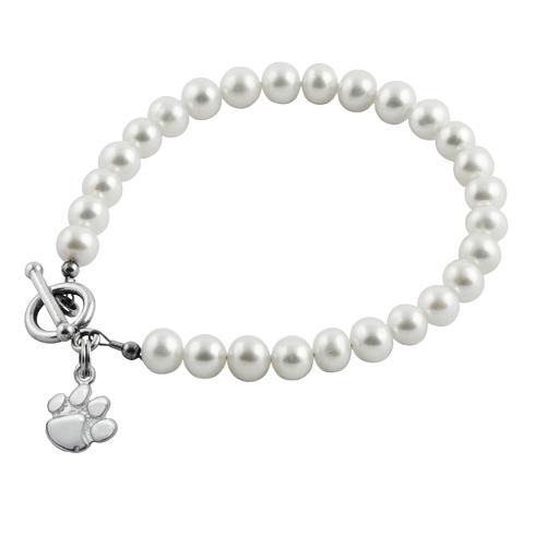 Sterling Silver Clemson University White Pearl Bracelet