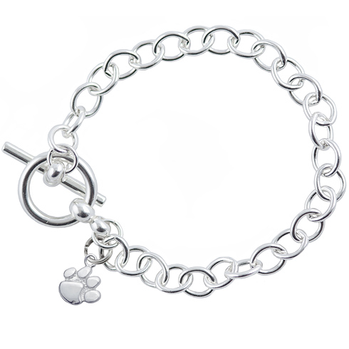 Sterling Silver 7 1/2in Clemson University Link Bracelet