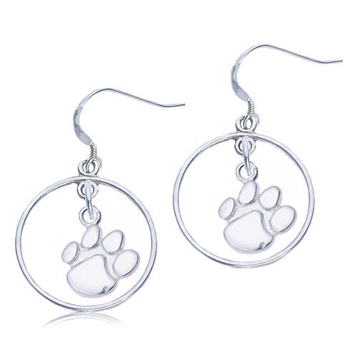 Sterling Silver Open Drop Clemson Earrings