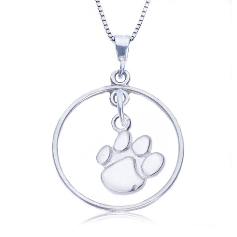 Sterling Silver 16in Open Drop Clemson Necklace