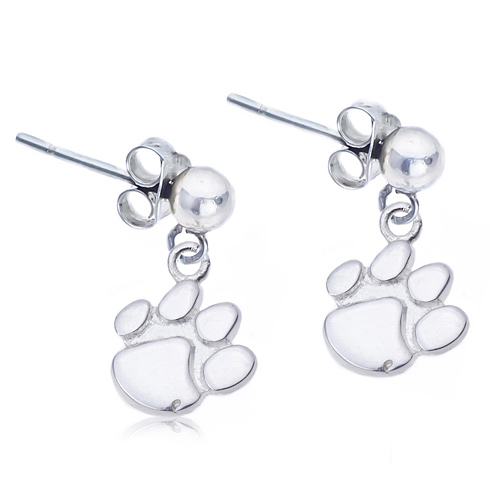 Sterling Silver Post Dangle Clemson Earrings