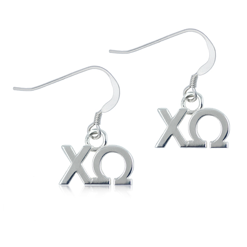 Sterling Silver Chi Omega Dangle Earrings