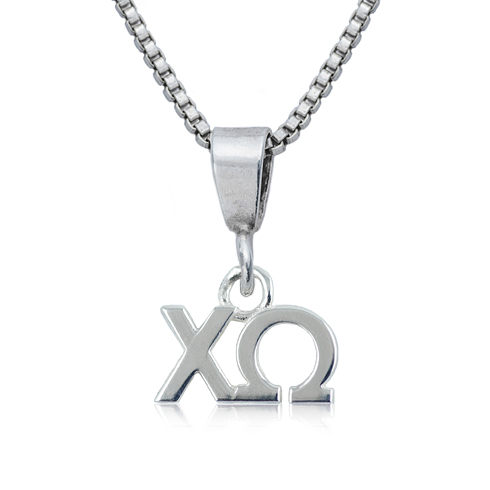 Sterling Silver 16in Chi Omega Charm Necklace