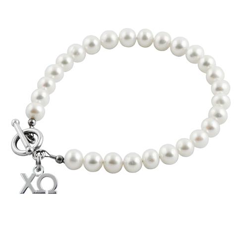 Sterling Silver Chi Omega Pearl Bracelet
