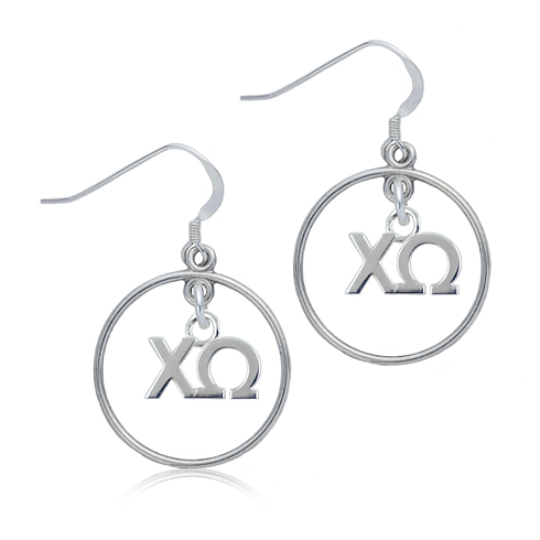 Sterling Silver Chi Omega Open Drop Earrings