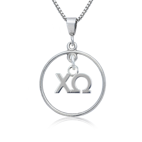 Sterling Silver 16in Chi Omega Open Drop Necklace